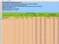 Provisiones para insolvencias sistema individual.